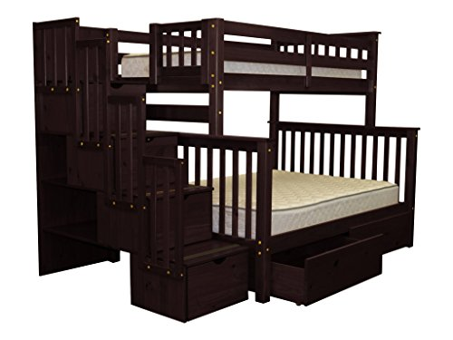 Bedz King Stairway Bunk Beds Twin over Full with 4 Drawers in the Steps and 2 Under Bed Drawers, Cappuccino For Sale