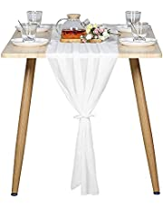 FLPYARD Wedding Shower Chiffon Table Runner 10Ft Long27x120 Inches Sheer Table Runner Decoration for Romantic Wedding Bridal Baby Shower Holiday Party