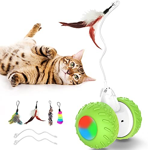 JBONEST Interactive Robotic Cat Toys, Automatic Self Rotating Ball with 3 Modes & 2 Speeds, USB Charging Birds Feathers Toys for Indoor Cats/Kitten with Colorful Led lamp,Large Capacity Battery