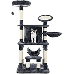 "SONGMICS 55"" Multi-Level Cat Tree Condo Tower with Scratching Post and Pad Kitty Play House Furniture Grey UPCT25G"