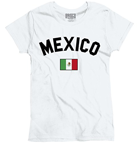 World National Flag (Brisco Brands Mexico Flag World Cup Soccer Mexican National Flag Pride Ladies T-Shirt)