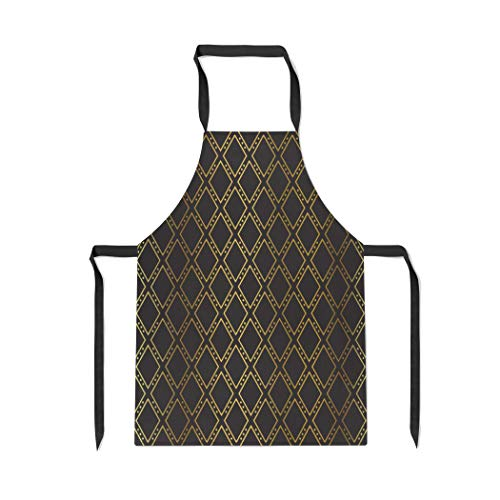 Pinbeam Apron Pattern Gold Diamonds Casino Black Heart Dark Abstract with Adjustable Neck for Cooking Baking -