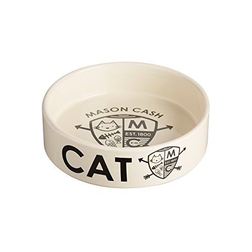 Mason Cash Ceramic Coat of Arms Cat Bowl, 5-1/2-Inches, 25-Fluid Ounces, Black, Cream (Kitty Whisker World)