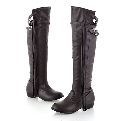 Nonbrand Ladies Leather Tassel Long Boots Block Heel knee length Shoes Black uEfV5hYRM