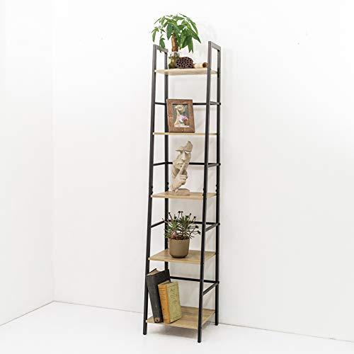 C-Hopetree Ladder Bookcase Bookshelf Storage Shelf Vintage Industrial Plant Display Stand Rack Shelving, Home Office Accent Furniture, Black Metal Frame, 5 Tier Slim (Shelving Narrow Industrial)
