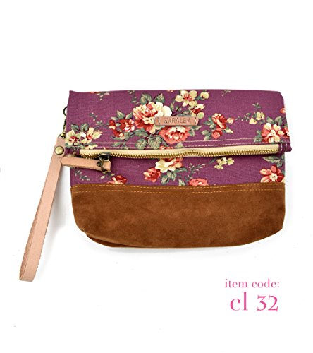 Borann -Bridesmaid Gift-Bridesmaid clutch Women Floral Monogram Canvas Clutch Handbag Purse Bridesmaid Gift (Monogram Suede Handbag)