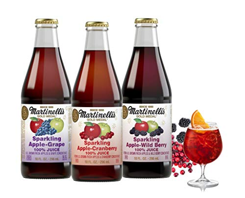 (Martinelli's 10 oz. Sparkling Apple Juice Drinks, 3 Flavor Variety Pack, | Apple Grape Juice, Apple Cranberry, Apple Wild-Berry | Pack of 12)