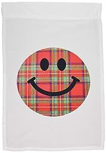 3dRose fl _ 113091_ 1de tartán escocés cara sonriente rojo y verde Plaid Sonrisa de cara sonriente sonriente Jolly Escocia bandera de Jardín, 12por 45,72cm