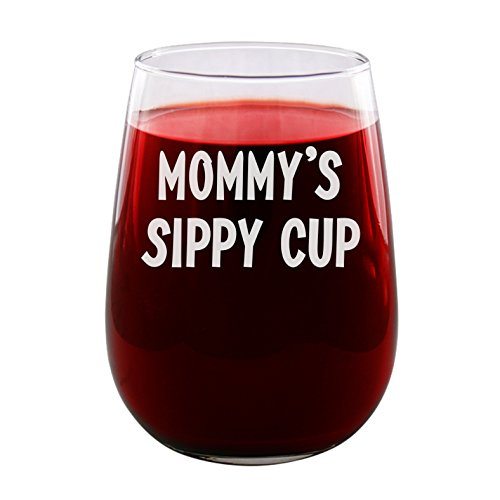 Mommy's Sippy Cup - 1 Pack - Engraved Wine Glass - Stemless - 17oz - Funny Gifts for Men and Women by Sandblast Creations