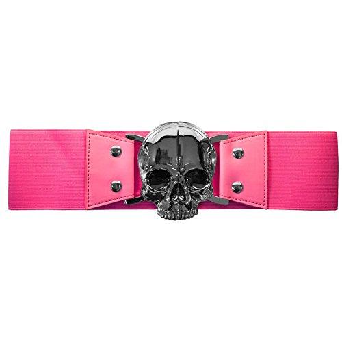 (Women's Kreepsville Skull Elastic Waist Belt Pink S/M)