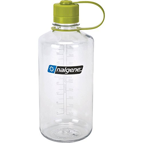 Nalgene Tritan 32oz Narrow Mouth Water Bottle Clear With Green Loop Cap BPA-Free