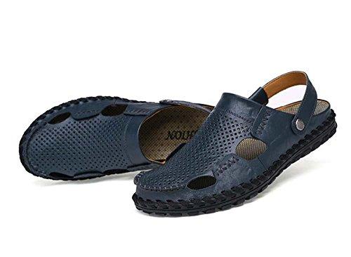 Onfly Hombres Chicos Estilo británico Dedo del pie cerrado Cuero Casual Sandalias Zapatillas Antideslizante Respirable Para caminar Al aire libre Sandalias Zapatos de agua Zapatillas de deporte ocasio Blue
