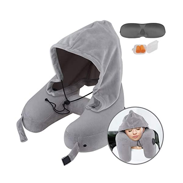 Soft Cushion With Velour Cover Sleep Mask and Earplugs Travel Pillow Inflatable Neck Pillow Support