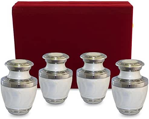 Everlasting Love White Small Mini Cremation Keepsake Urns For Human Ashes - Set of 4 - Beautiful and Timeless Find Comfort Everytime You Look At These Urns - With Velvet Case