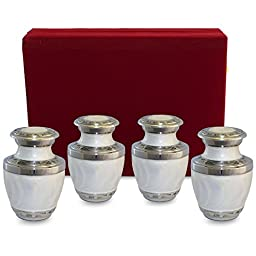 Everlasting Love White Mini Cremation Keepsake Urns For Human Ashes - Set of 4 - Beautiful and Timeless Find Comfort Everytime You Look At These Urns - With Velvet Box