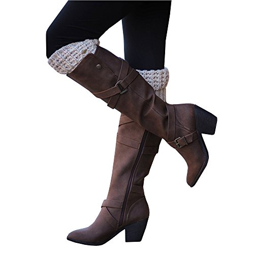 Ivay Women's Fashion Knee High Casual Riding Boot Side Zip High Heel Shoes