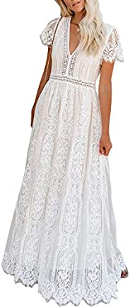 Bdcoco Women's V Neck Floral Lace Wedding Dress Short Sleeve Bridesmaid Evening Party Maxi D