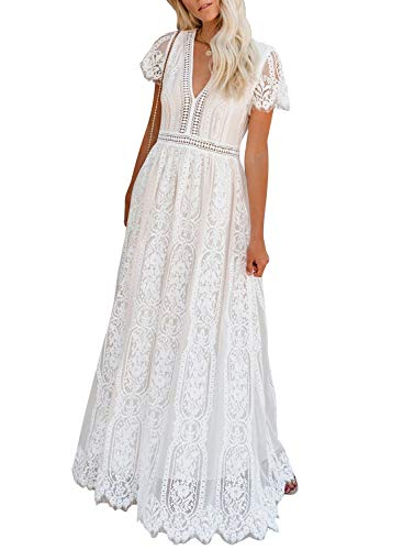 Bdcoco Women's V Neck Long Evening Dress Short Sleeve Lace Cocktail Party Maxi Dress White