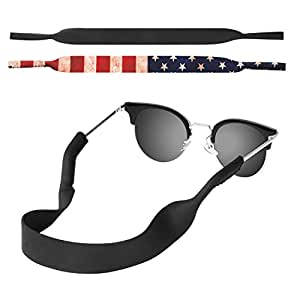MoKo Neoprene Eyewear Retainer, (2 Pack) Universal Fit No Tail Sports Sunglasses Retainer, Sunglass Strap Safety Glasses Holder for Kids, Men, Women, unisex-adult, Eyewear Retainer, A - Black & US Flag