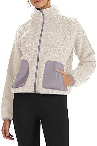 JUYBENMU Women's Sherpa Fleece Jacket Full Zip Long Sleeve Coat Soft Warm Jacket With Pockets