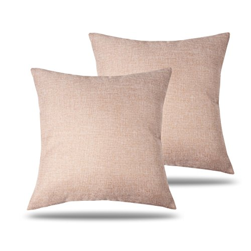 CARRIE HOME Solid Color Decorative Cotton Linen Throw Pillow Covers Blush Pink Pillow Cases for Patio Couch Bed, 18 x 18 Inches (Pale Pink, Set of 2)