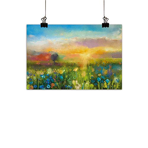 Anzhutwelve Art Light Luxury American Oil Painting Dandelion Cornflower Daisy Blooms in The Meadow Field Before Sunset Spring Landscape Home and Everything Multicolor 35