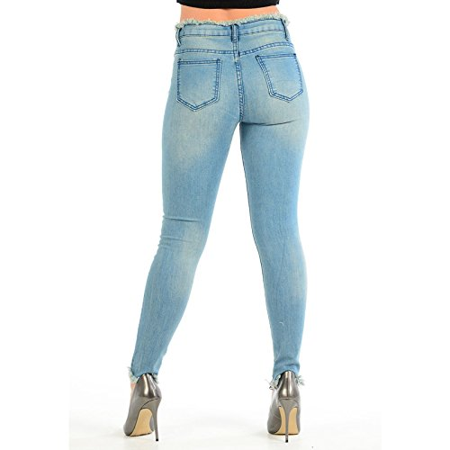 Ripped Studded Xelay Jeans Knee Skinny Donna Blue YaCgT