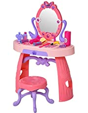 Qaba Kids Vanity Table and Stool Beauty Pretend Play Set with Mirror Lights Sounds & Pretend Beauty Makeup Accessories for Girls 3+ Years Old Pink
