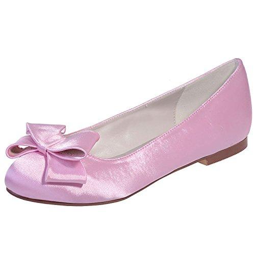 Uerescha Women's Rhinestones Round Toe Stain Flats Slip On Bridal Wedding Shoes Pink-B9.5 B(M) US