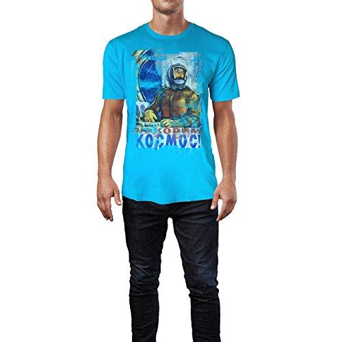SINUS ART® Submarine Herren T-Shirts in Karibik blau Cooles Fun Shirt mit tollen Aufdruck