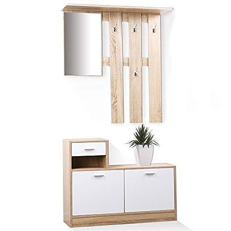 IDmarket. Mueble perchero para recibidor en madera de haya ...