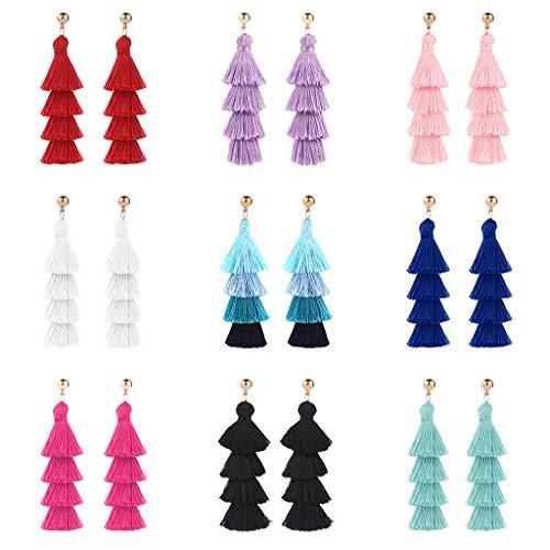 (Topgee Creative Size Round Earrings - European and American Earrings Wild Ladies Fashion National Trend Women Golden Silk Tassel Metal Earrings Tassel Earrings)