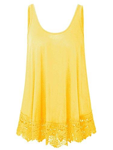 Yellow Tank Top Shirt - Plus Size Swing Lace Flowy Tank Top for Women (Yellow, 4X)