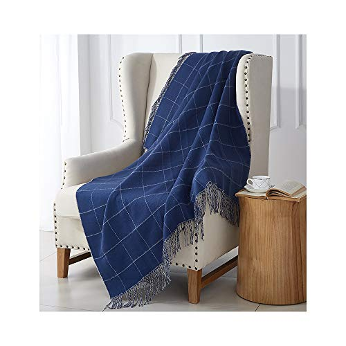"MERRYLIFE Knitted Throw Blanket Sofa, Couch, or Bedroom Décor | Breathable Warmth, Plush Acrylic Fabric | 50"" x 60"" Jacquard Grid"