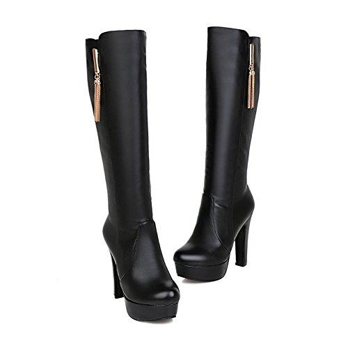 Allhqfashion Dames Pu Blend Materialen Hoge Hakken Laarzen Met Metalen Decoratie Zwart