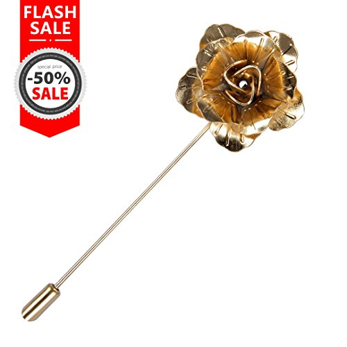 Seven And Eight S&E Fashion Men Rose Floral Lapel Stick Brooch Pin Suit Tuxedo Corsage Accessory (GOLD) - Gold Flower Pin Brooch