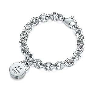 Tiffany And Co Bracelet Round Lock Charm Silver 092