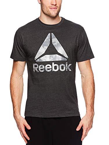 (Reebok Men's Graphic Workout Tee - Short Sleeve Gym & Training Activewear T Shirt - Digital Camo Charcoal Heather, Medium )