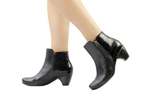 Mujer Negro Botín Zapato Cómodo Piesanto 175880 5XATEq