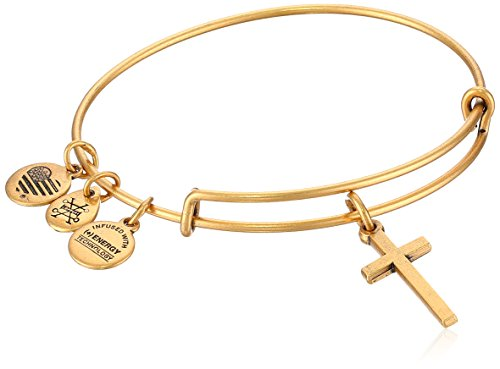(Alex and Ani Womens Cross II EWB Bangle Bracelet, Rafaelian Gold, Expandable)