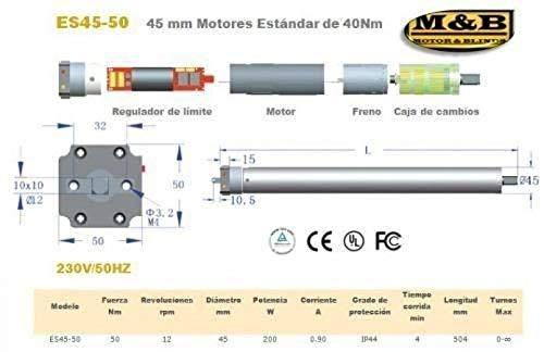 45mm 30Nm//53Kg MOTOR PERSIANA CABLEADO