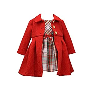 Best Epic Trends 41YyOT3XYlL._SS300_ Bonnie Jean Girl's Holiday Christmas Dress and Coat Set for Baby, Toddler and Little Girls