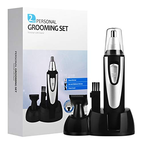 Beauty Giftware Mens Nose Ear Hair Trimmers With Stand, 2 in 1 Nose Ear Hair Sideburn Personal Body Groomers Shaving Grooming Set Electric Shavers AA Battery (6.100.98 inch, Sliver)