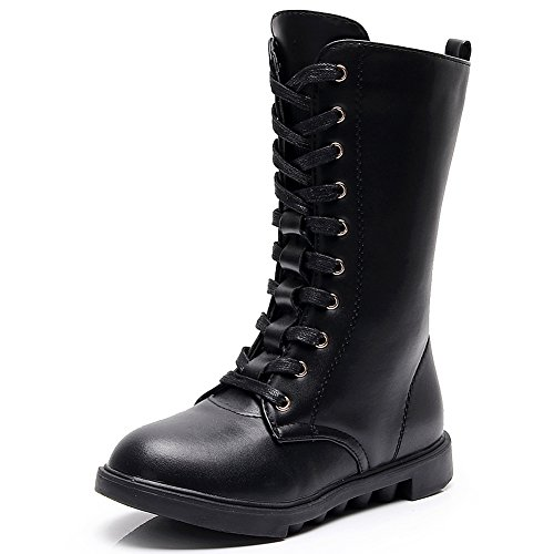 - rismart Girl's Mid-Calf Lace up Low Heel Equestrian Riding Boots SN033801(Black,us2)
