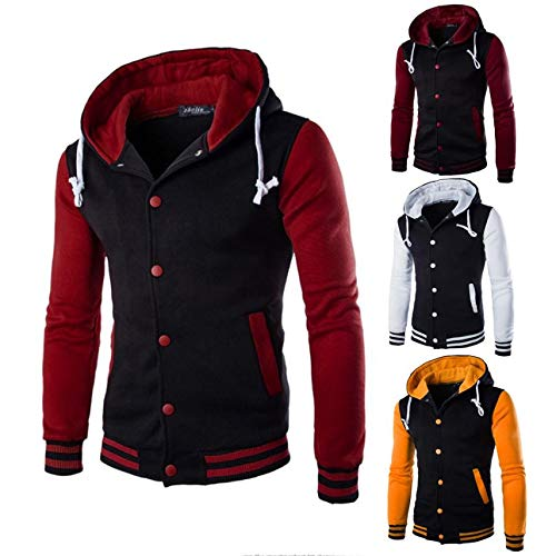 HARRYSTORE Hooded Slim Hoodie Men Hooded Outerwear Retro Sleeve Long Navy Sweatshirt Button Jacket rzrw5