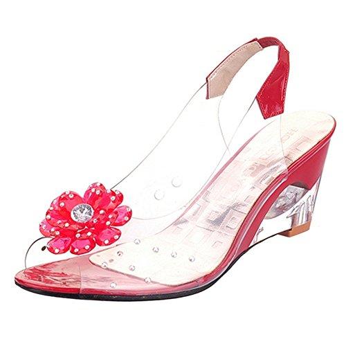 FANIMILA Mujer Moda Peep Toe Sin Cordones Sandalias Tacon de Cuna Transparent Zapatos Rojo