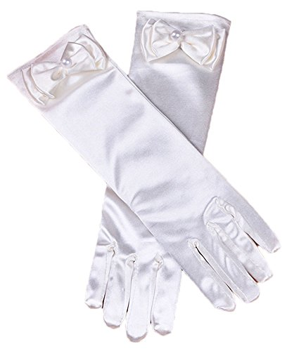 Girls Princess Dress Gloves Stretch Full Finger for Pageant Wedding Party White ()
