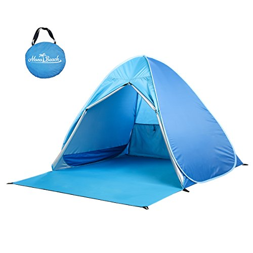 Kids Beach Cabana - Monobeach Baby Beach Tent Automatic Pop Up Shade Cabana Portable UV Sun Shelter, Blue