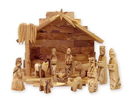 Bethlehem Gifts TM Handcarved Bethlehem Olive Wood Miniature Nativity Scene Set with Stable 12 Pieces (Stable 4.5