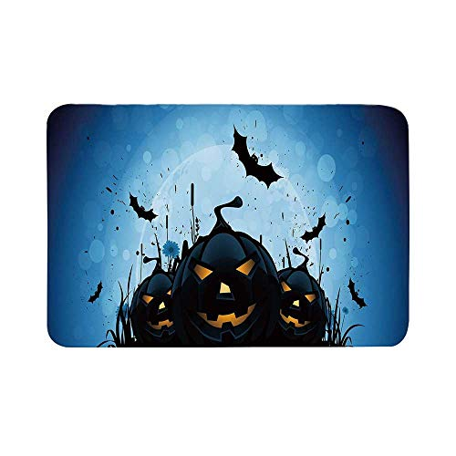 C COABALLA Halloween Durable Door Mat,Scary Pumpkins in Grass with Bats Full Moon Traditional Composition Decorative for Living Room,19.6
